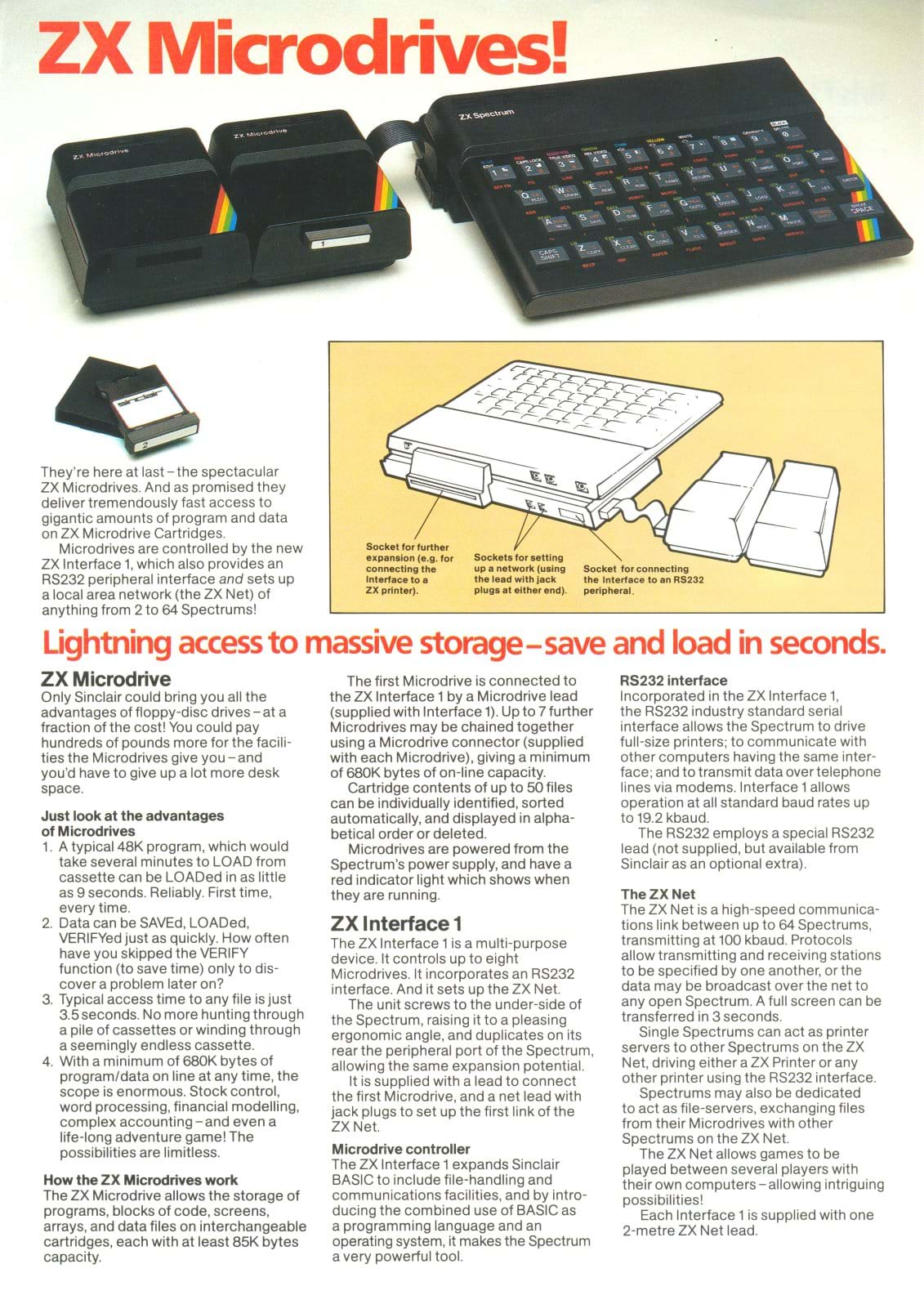 ZX Interface 1 and Micrdrive Leaflet Front