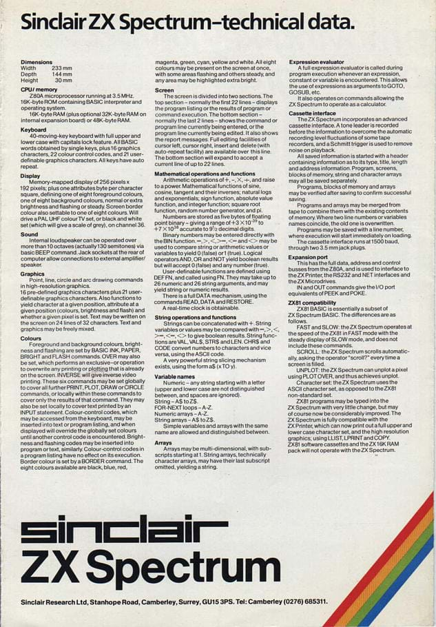 ZX Spectrum Advert
