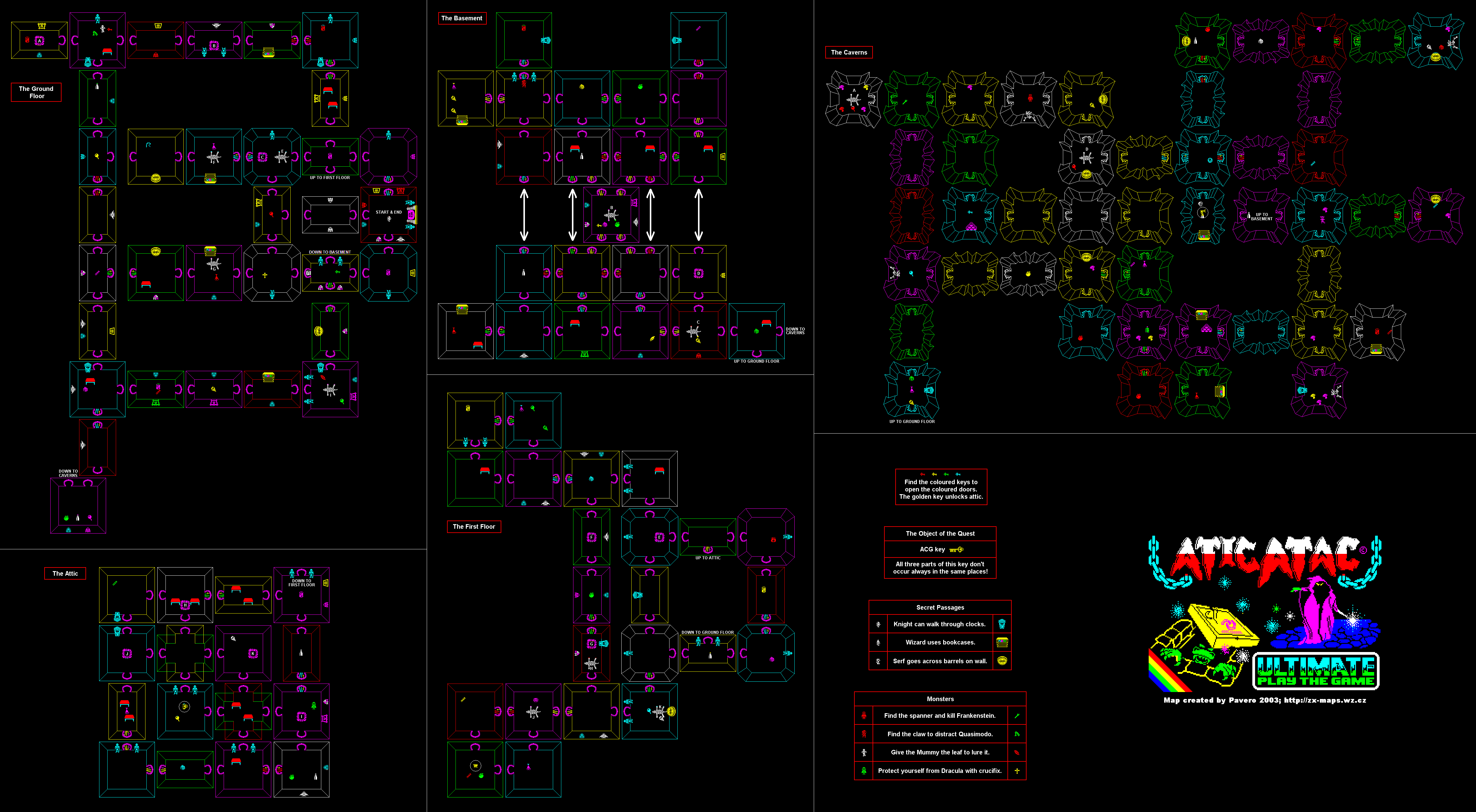 Atic Atac Game Map